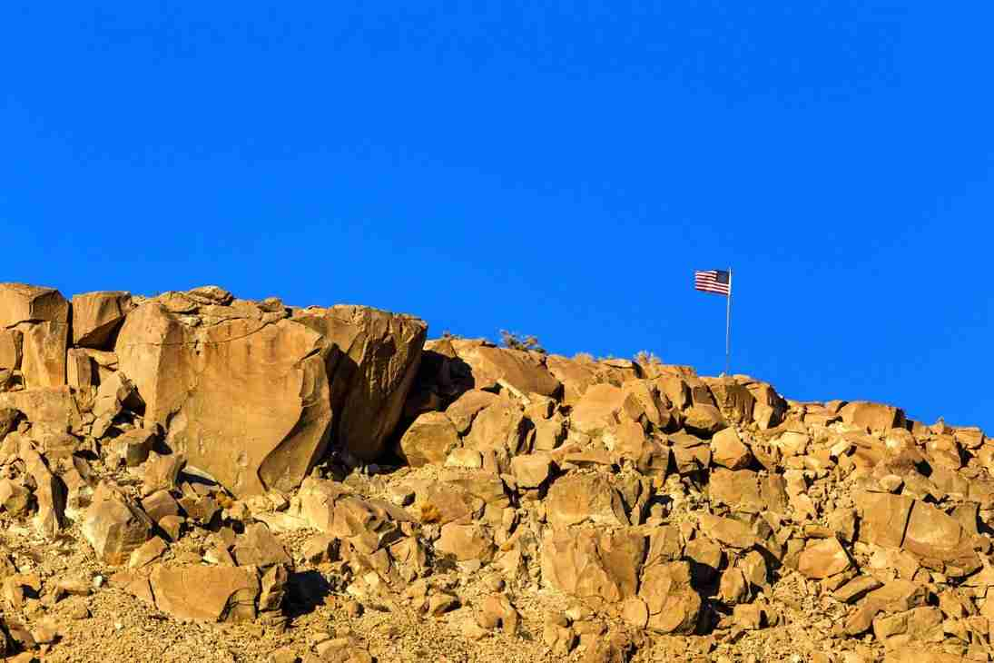 Print of an American Flag upon a Rock Cliff near Bishop