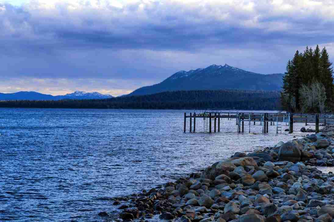 Print of the Pier at Lake Tahoe on a Cloudy Day at Dusk Photo