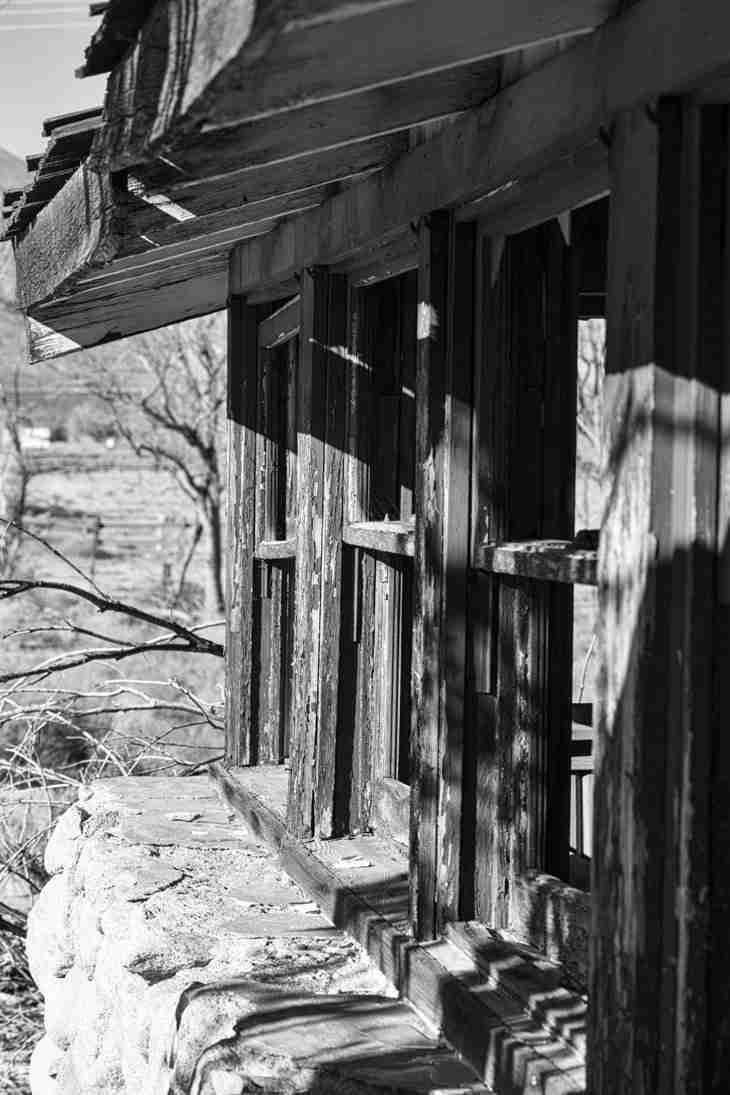 JMC_0115_5009 Print of Broken Windows of Abandoned Building along Highway 395 Photo