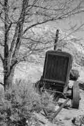 Black & White Print of an Old Rusted Tractor
