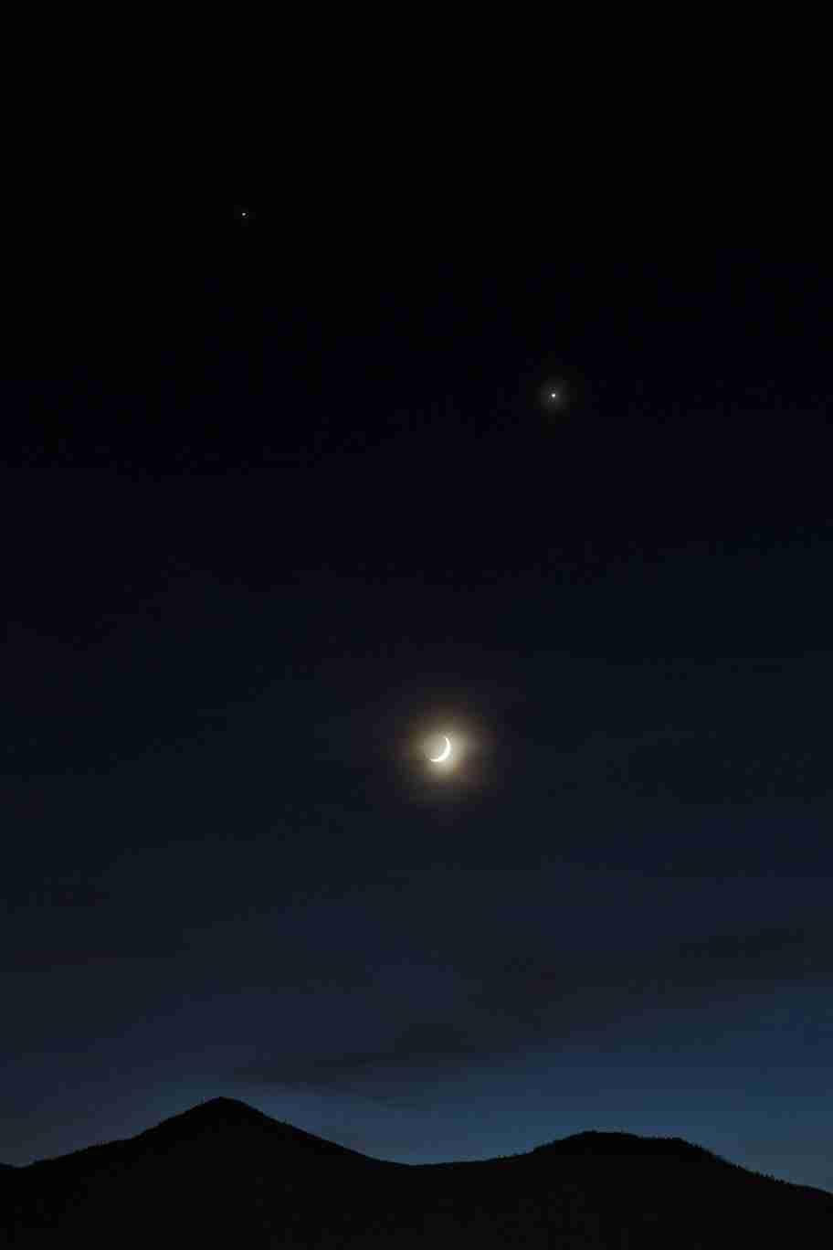 Print of Jupiter, Venus and the Moon as Dusk