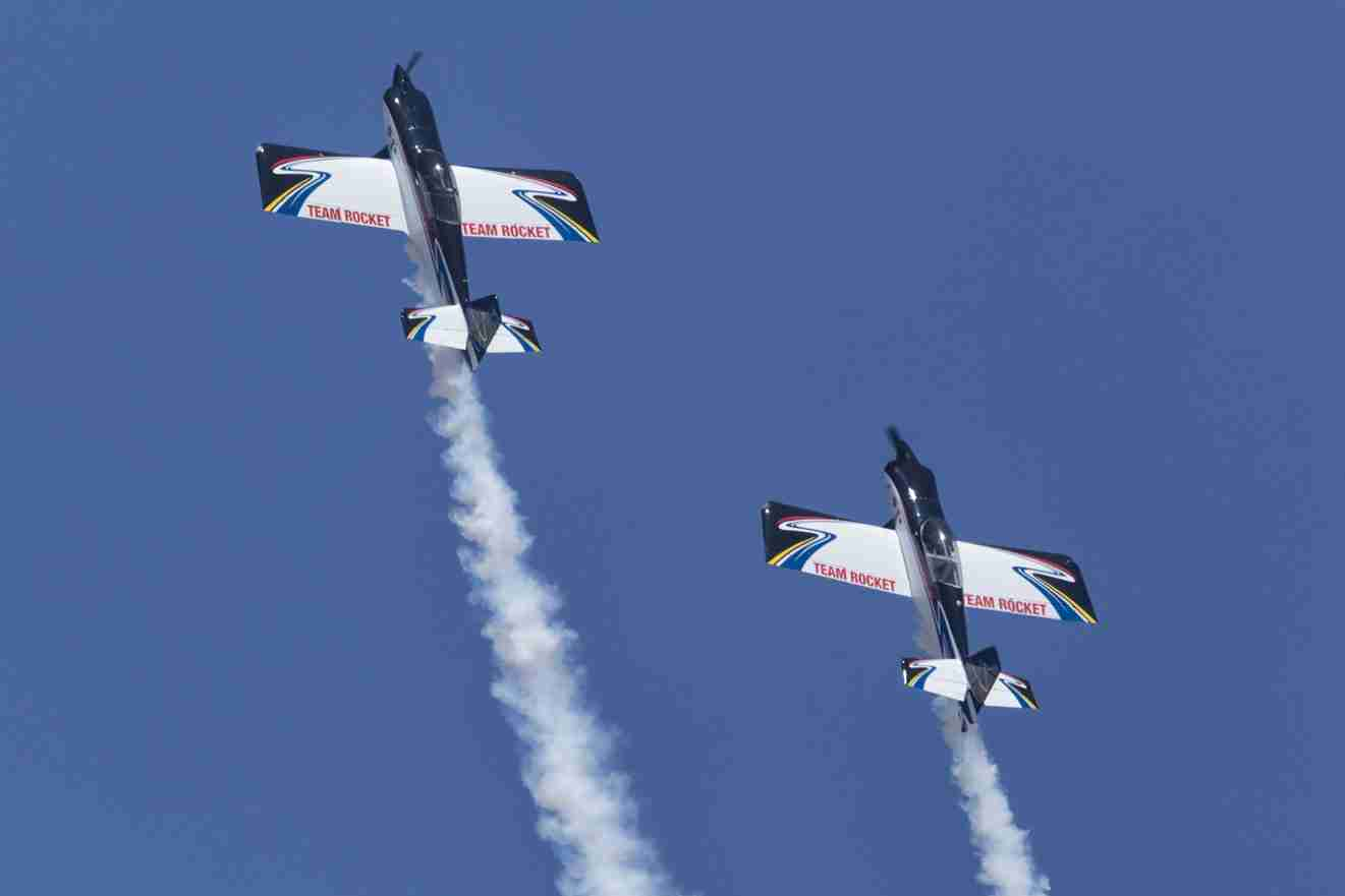 Stunt Planes Preparing for a Loop