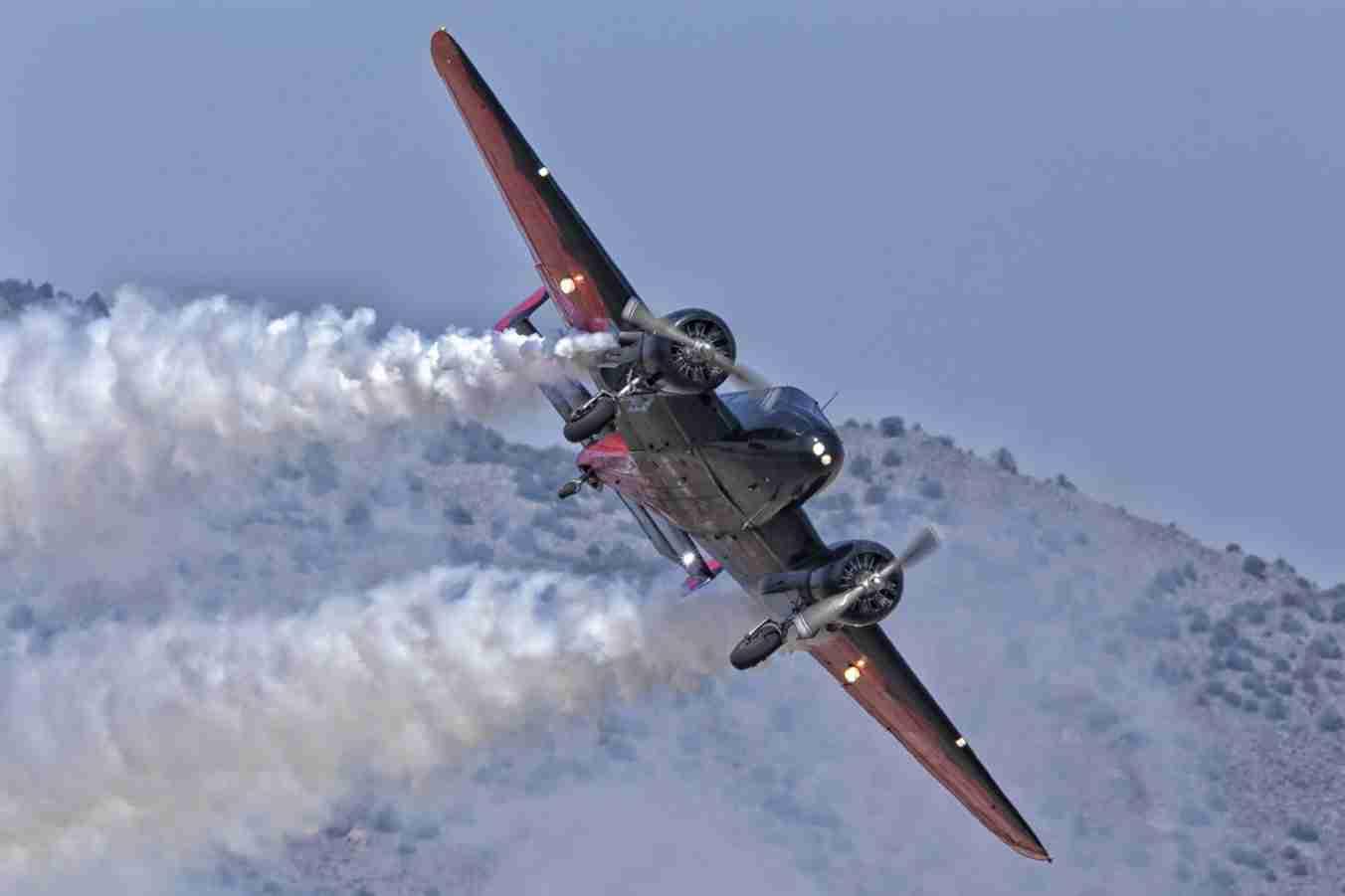 Beech 18 Plane Flying Low