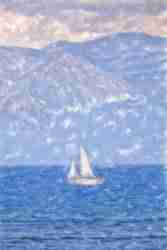 Print of a Sailboat on Lake Tahoe