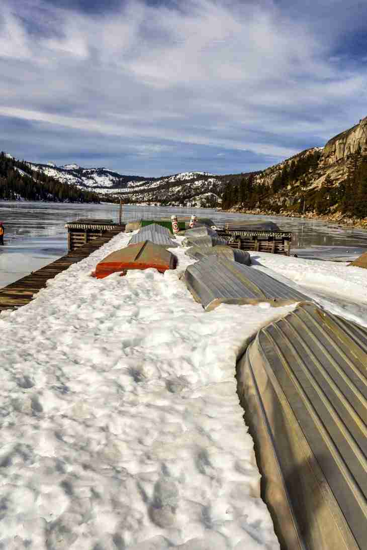 Print of Overturned Boats Near Frozen Echo Lake Photo
