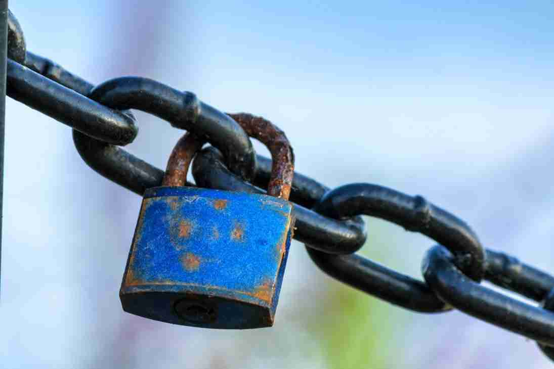 Print of a Rusty Blue Lock on a Black Chain in Laguna Beach Photo