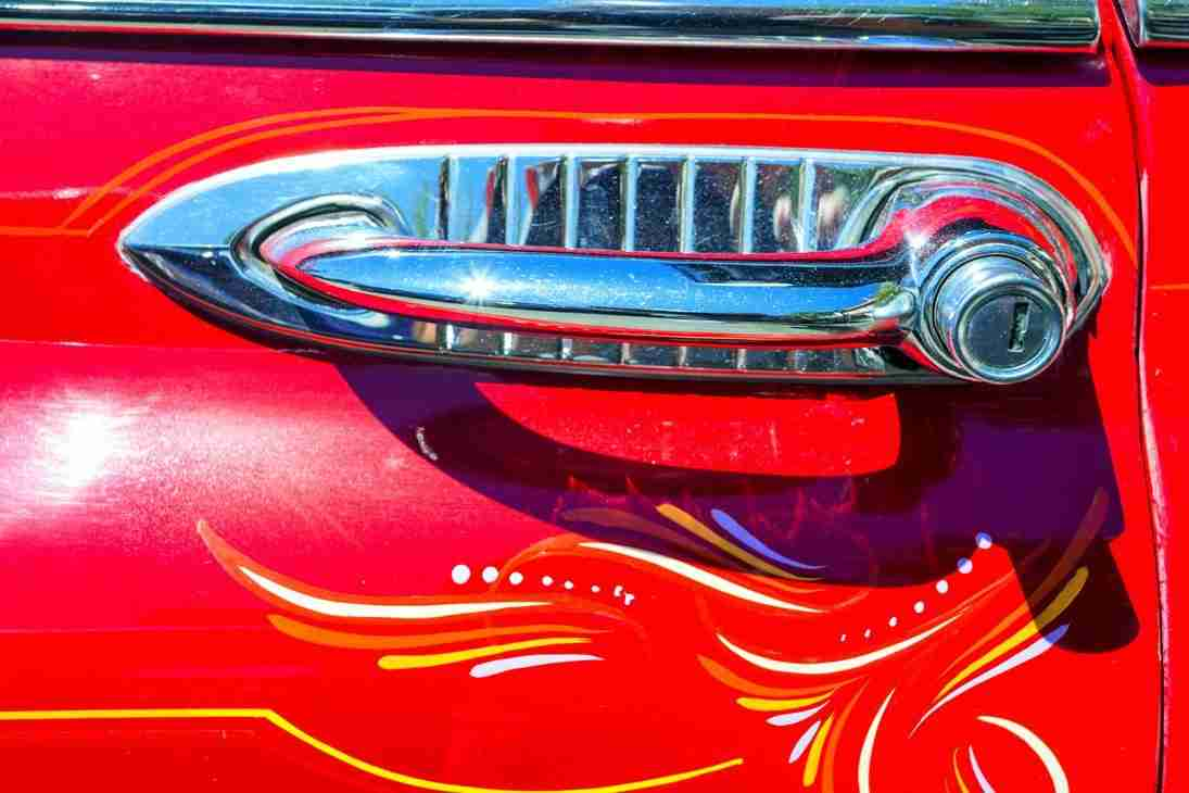 JMC_0814_3321 Print of the Door Handle on a Classic 1950's Car Photo