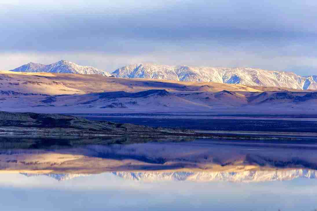 Print of Snowy Mountains Reflected in Mono Lake Photo