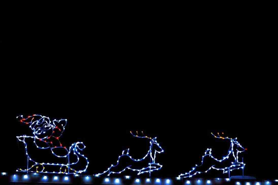Print of Santa's Sleigh made from Christmas Lights in Minden Photo