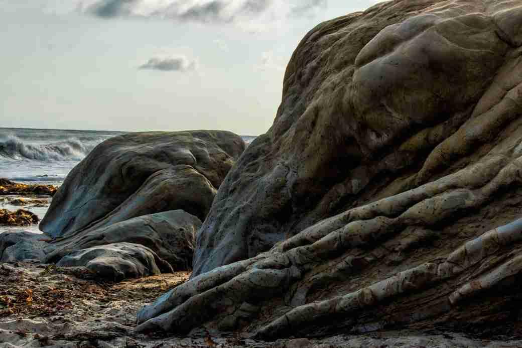 Rocks Along Beach in Newport Beach California