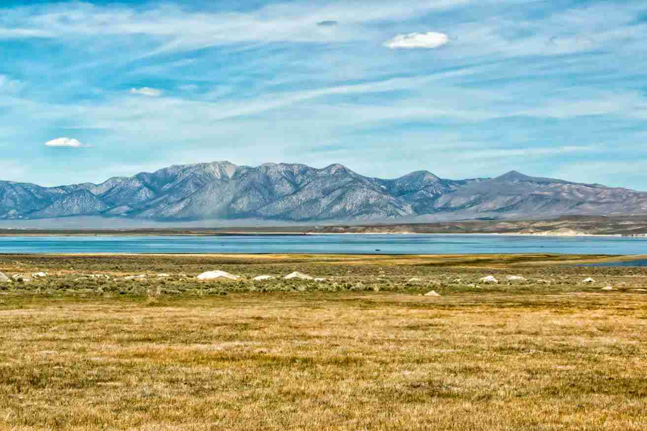 Print of a Mountains and Fields Surrounding Mono Lake