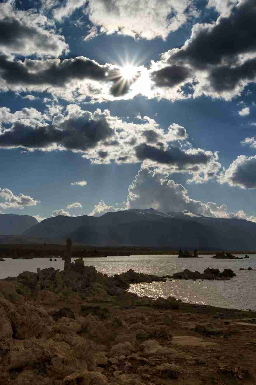 Print of the Sun and Clouds over Mono Lake