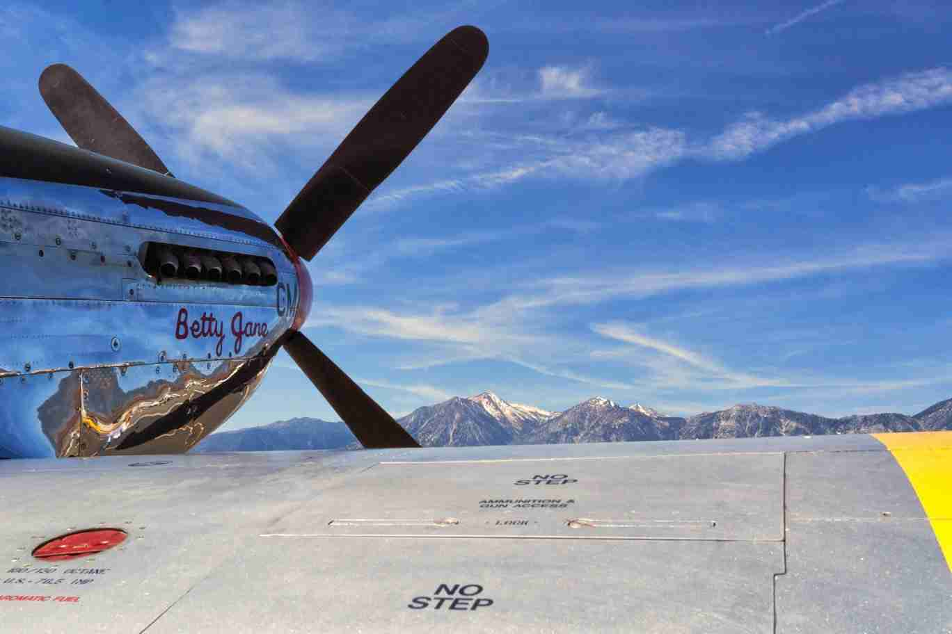 Print of a P-51 Mustang with the Sierra Nevada Mountains