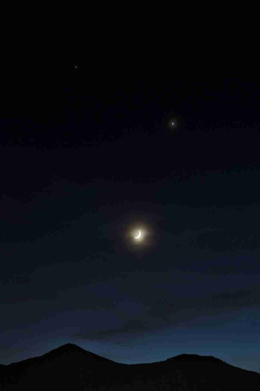 Print of Jupiter, Venus and the Moon as Dusk