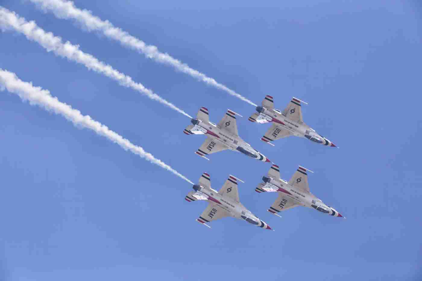 Four Air Force Thunderbird F-16s Flying Downward