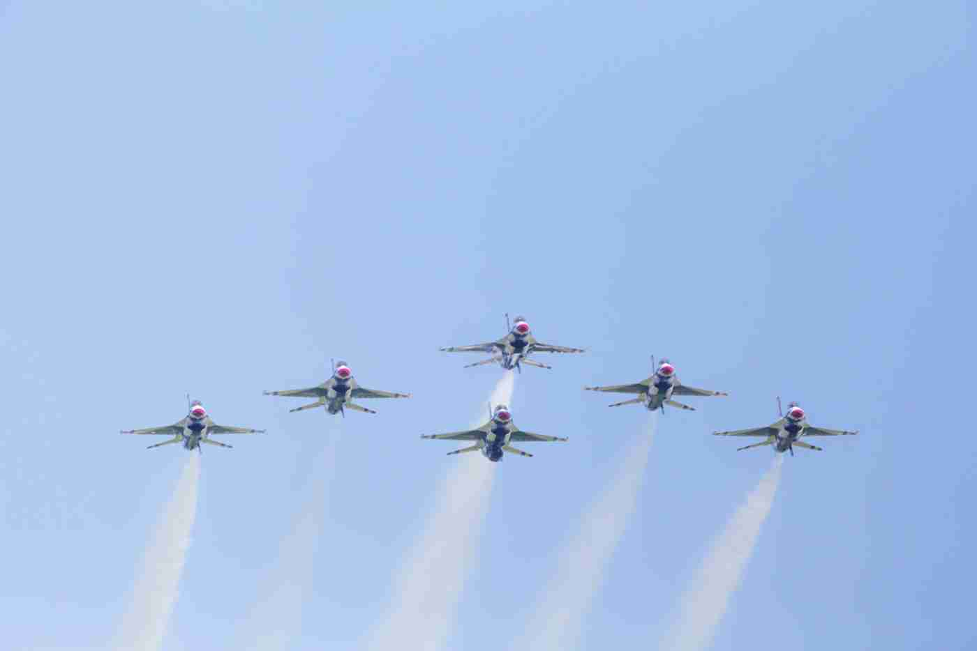 Front View of Air Force Thunderbird F-16s in Delta Formation